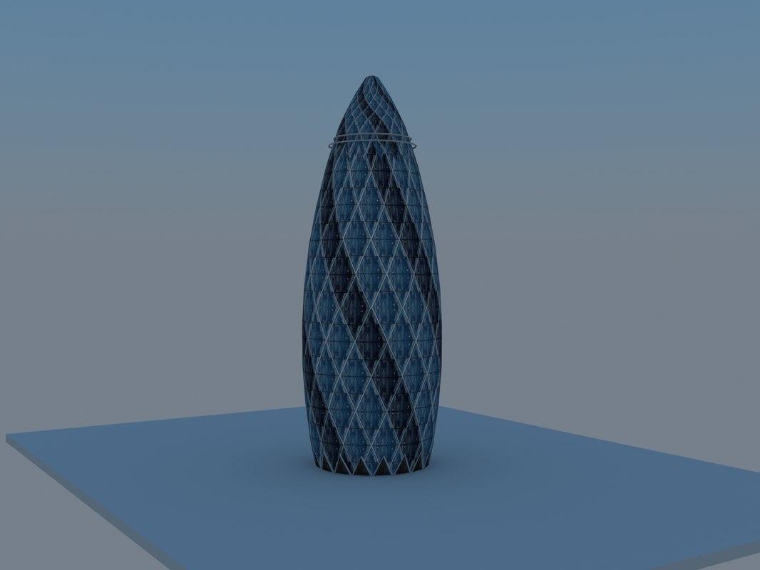 free 30 st mary axe 3d model