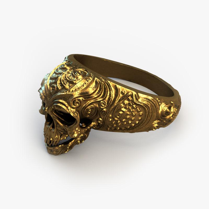 3d gold skull ring