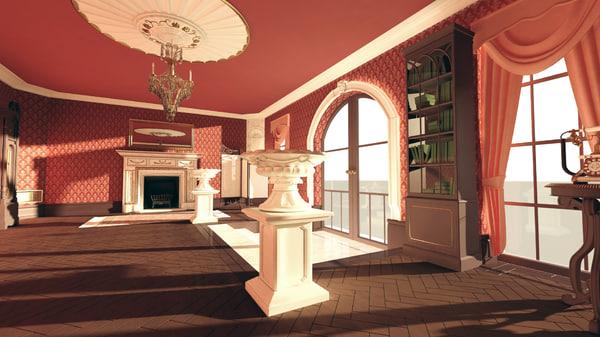 3d model victorian room scene