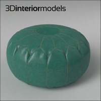 3d moroccan leather pouf model