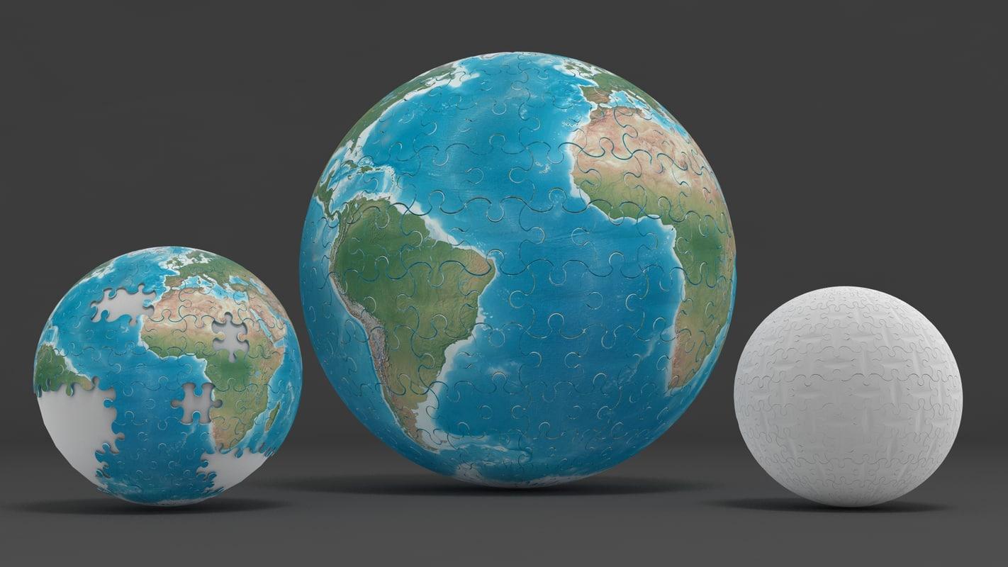 world puzzle 3d model