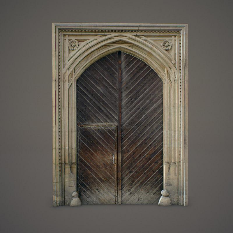 3ds wooden door