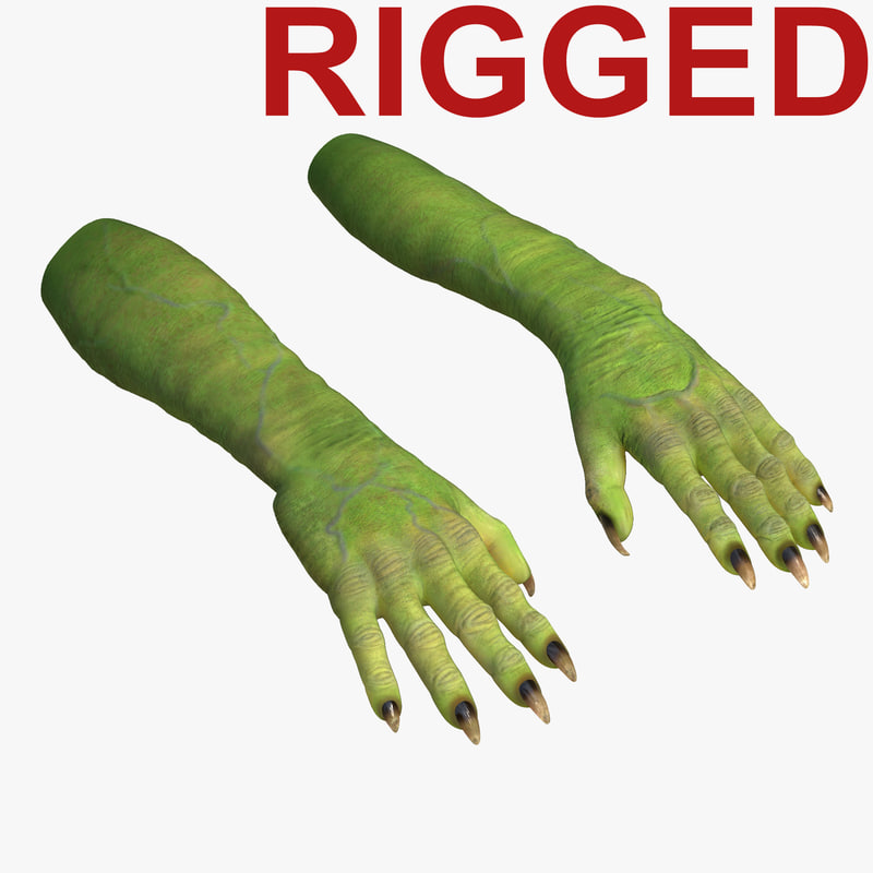 3d green orc hands rigged model
