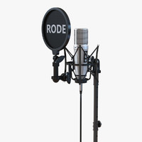 Studio Microphone Rode and Stand 3D Model