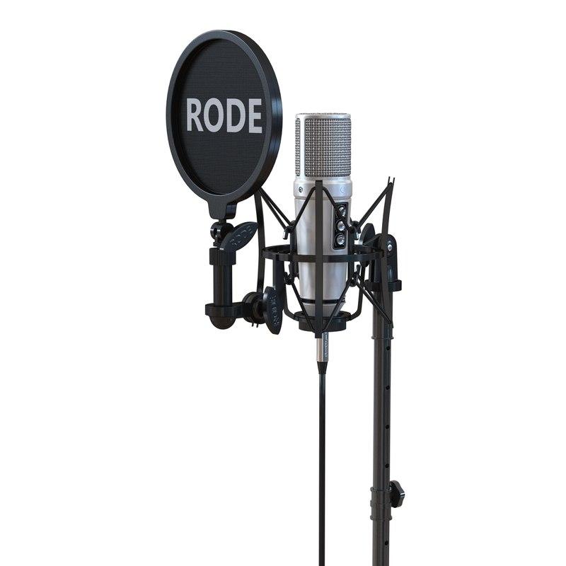 3d studio microphone rode stand model