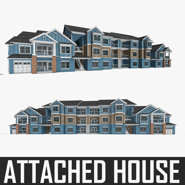 attached house build 3d model