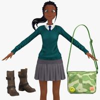 school student 2 3d model