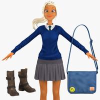 3d model school student 4