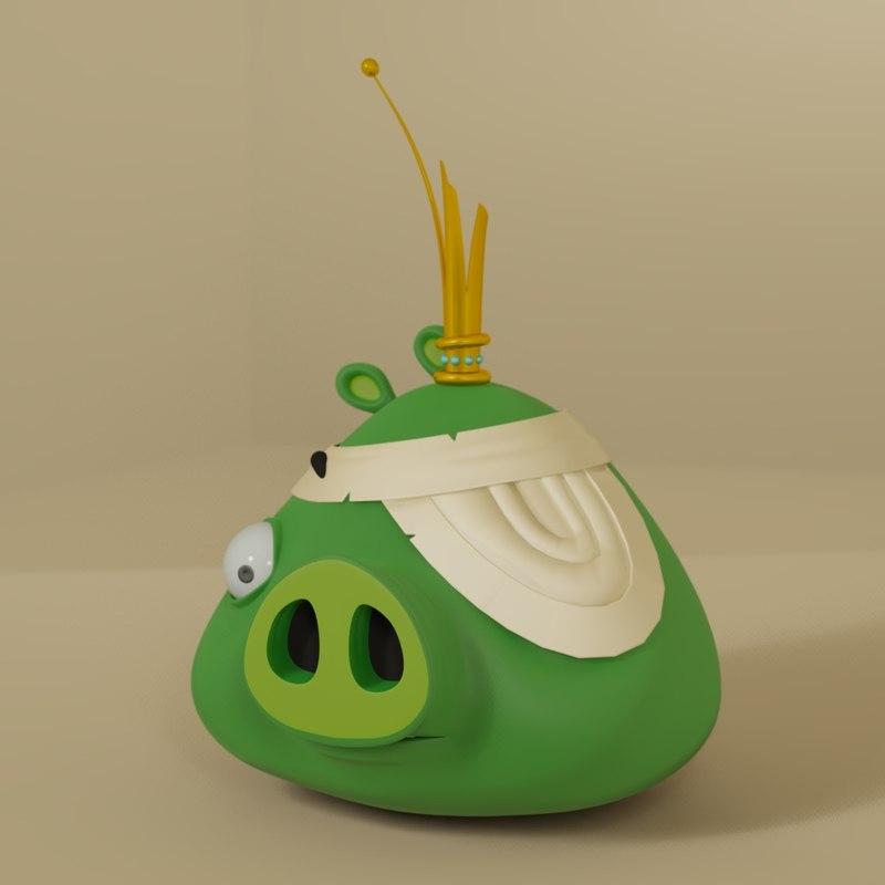 character cartoon pig animation 3d obj