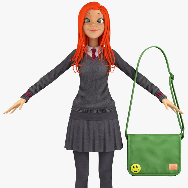 school student pullover 3d max