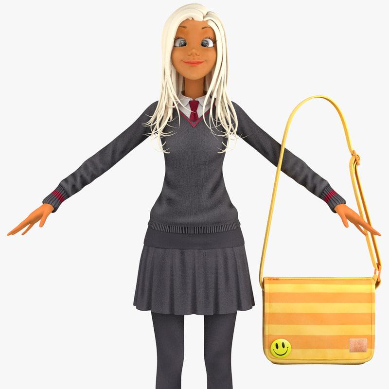 3d model school student pullover