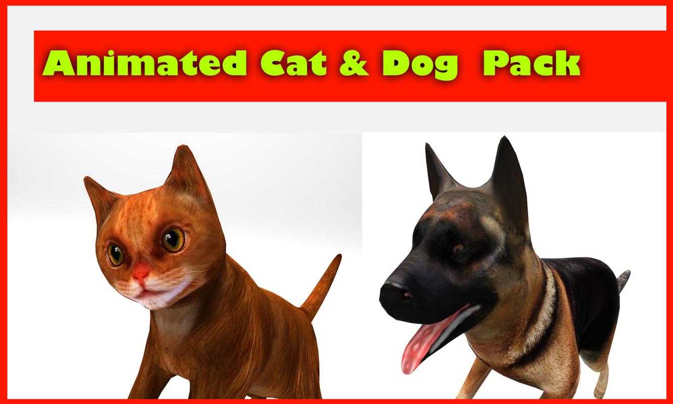 3d dog animation cat