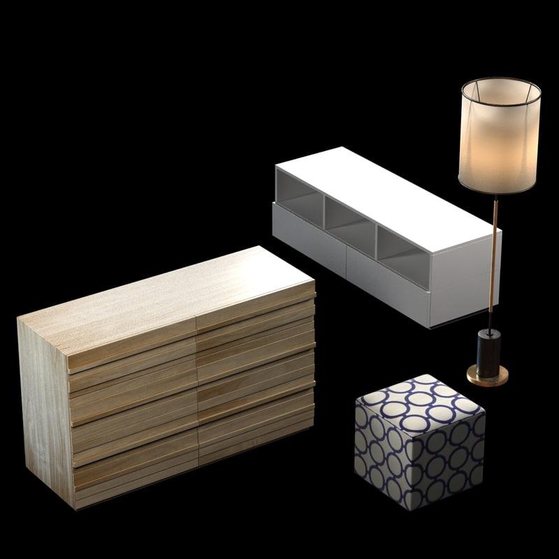 3d stria 6-drawer dresser - model