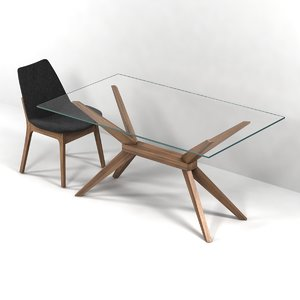 3d chair table magna glass