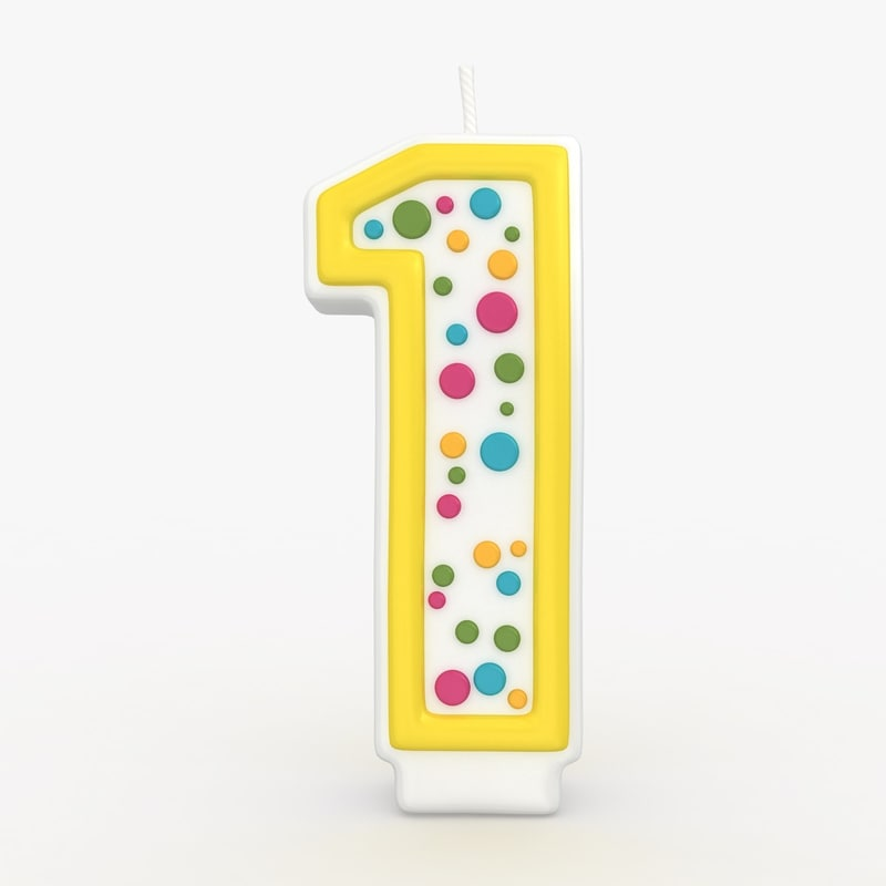 3d realistic number candle 1