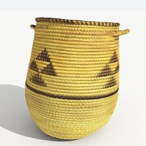 african weaved laundry basket 3d model