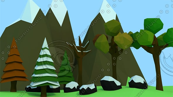 3d trees rocks mountains model