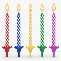3d model realistic birthday candles flame