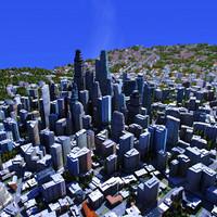 3d modern city building texturing model