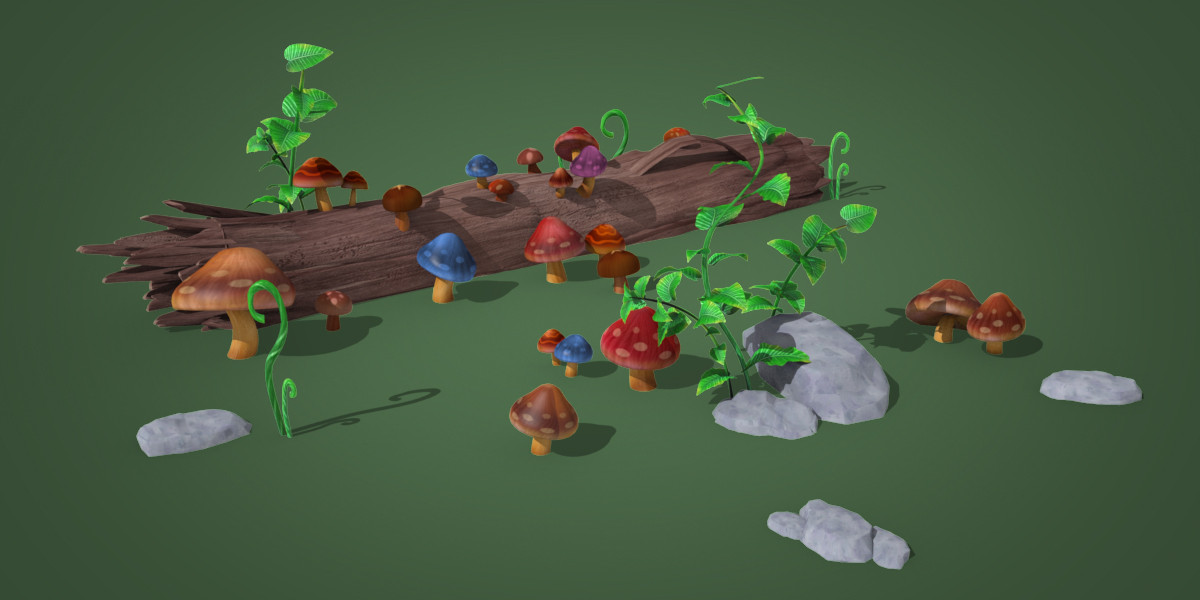 3d obj cartoon mushroom