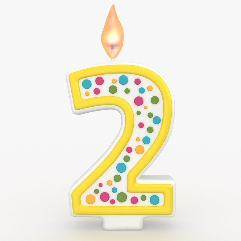 realistic number candle 2 3d model