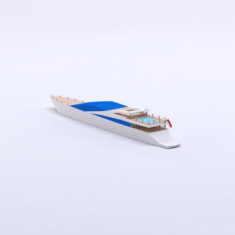 3d cartoon yacht