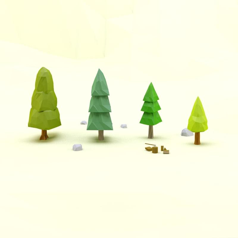 3d model trees pack 2