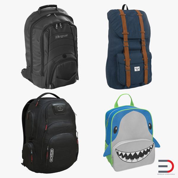 3ds backpacks 2 modeled