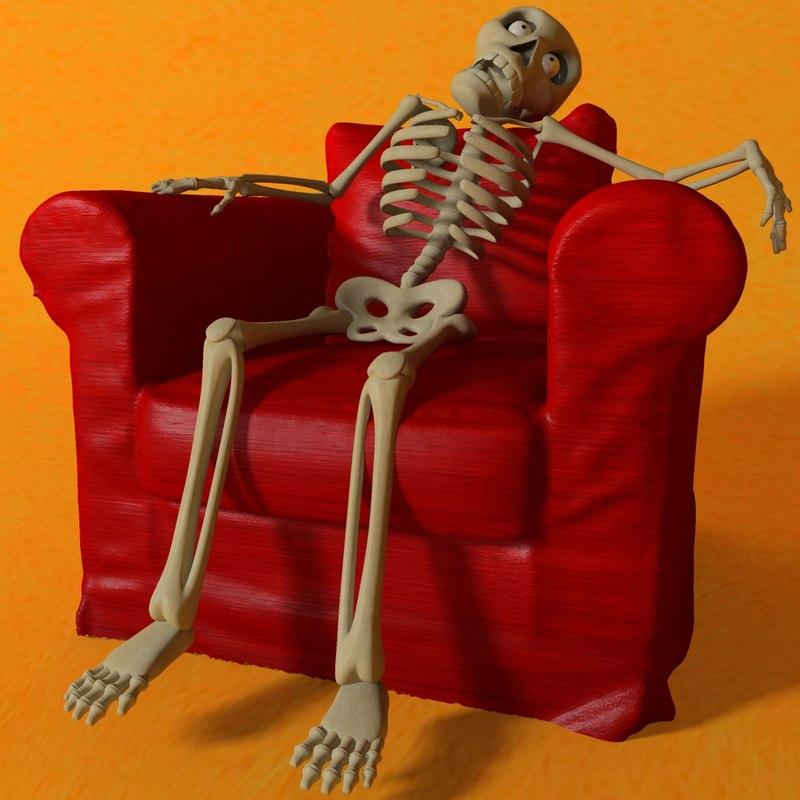 3d 3ds cartoon skeleton rigged