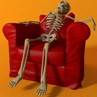 Cartoon Skeleton Rigged