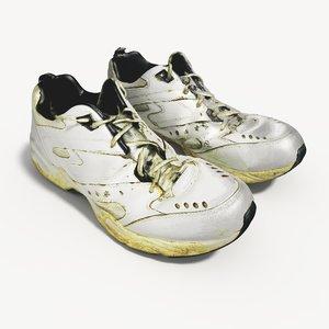 old worn running shoes obj