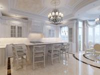 3d interior classic kitchen scene model