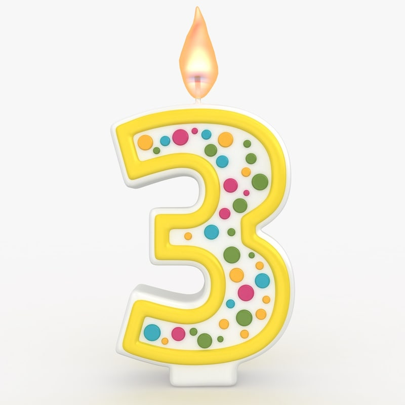 3d realistic number candle 3