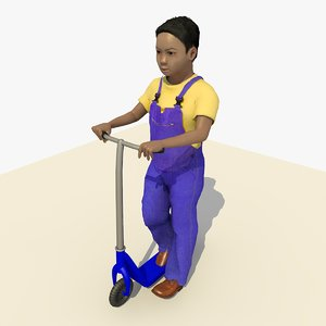 asian boy riding scooter 3d model