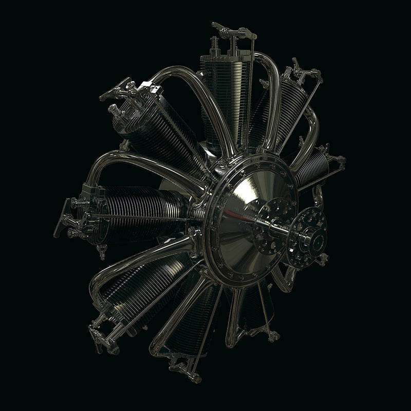 ww1 rotary engine obj
