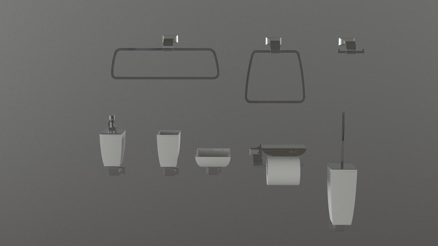 3d accessories toilets model