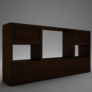tv media furniture cabinet 3d model