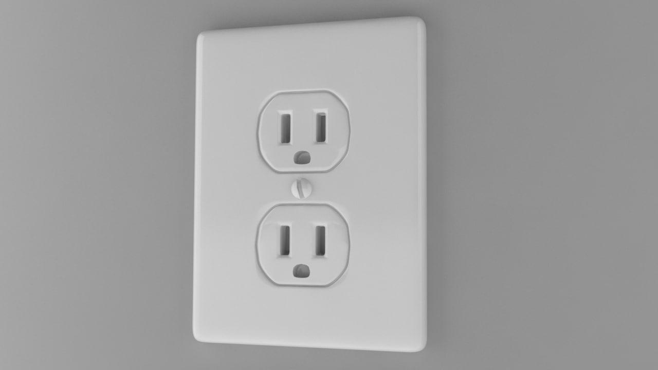 power socket type b 3d obj
