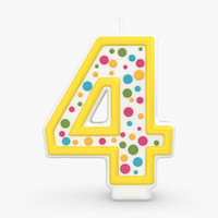 3d model realistic number candles 4