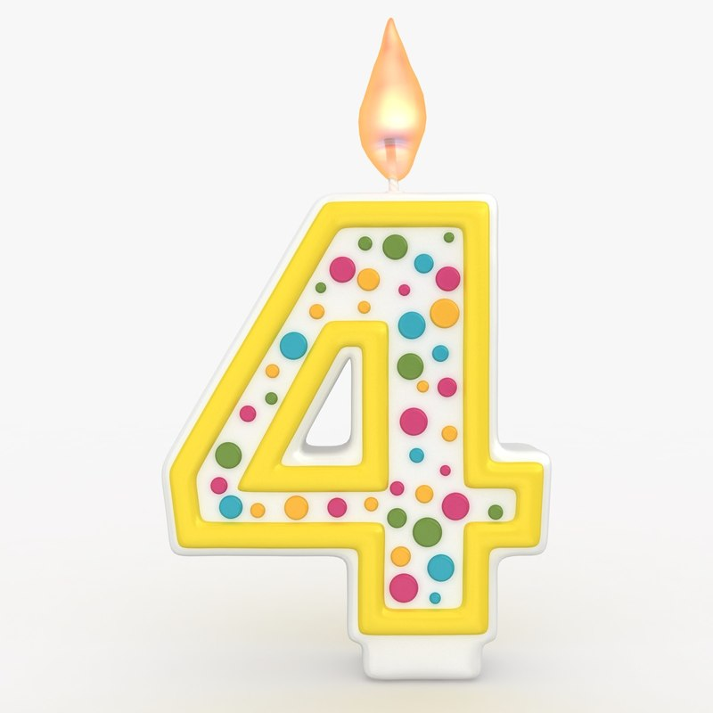 realistic number candle 4 3d max