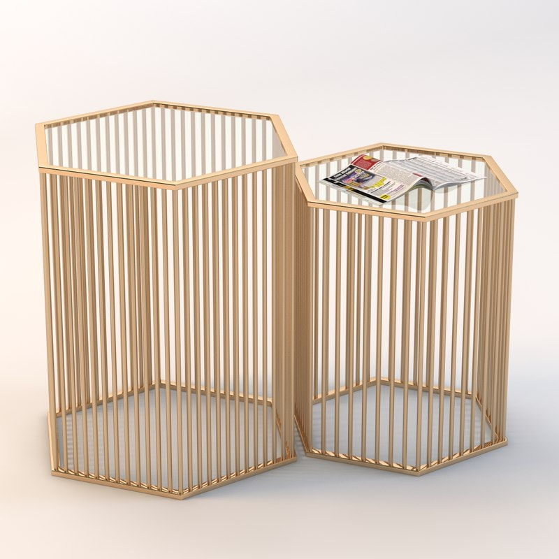 3d model of hexagonal modern table