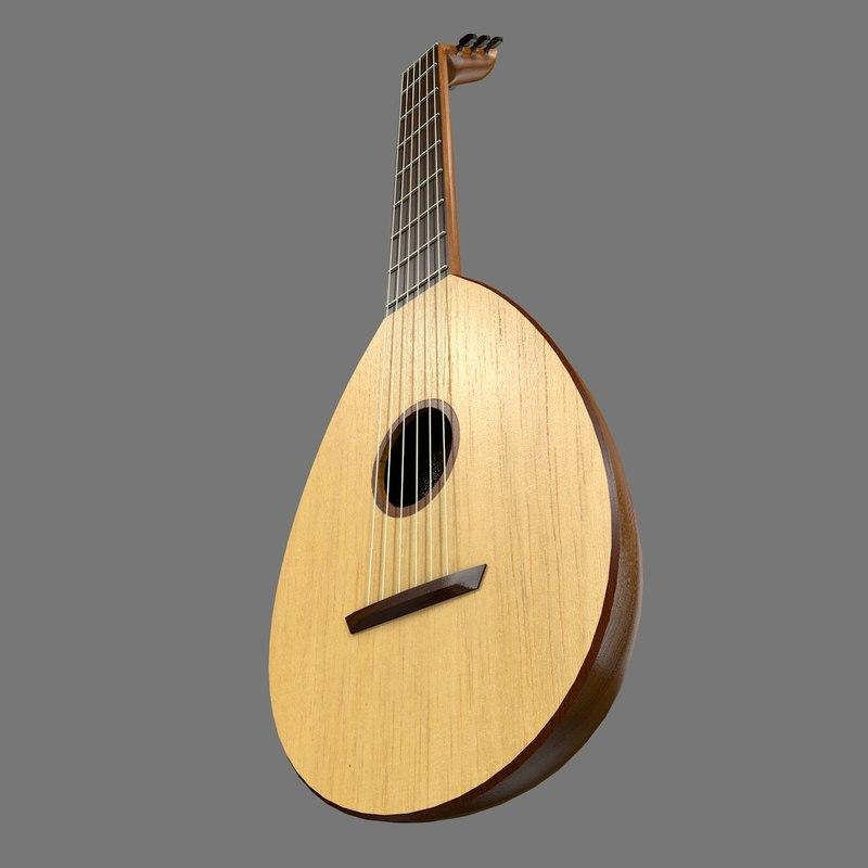 3d lute medieval instrument model