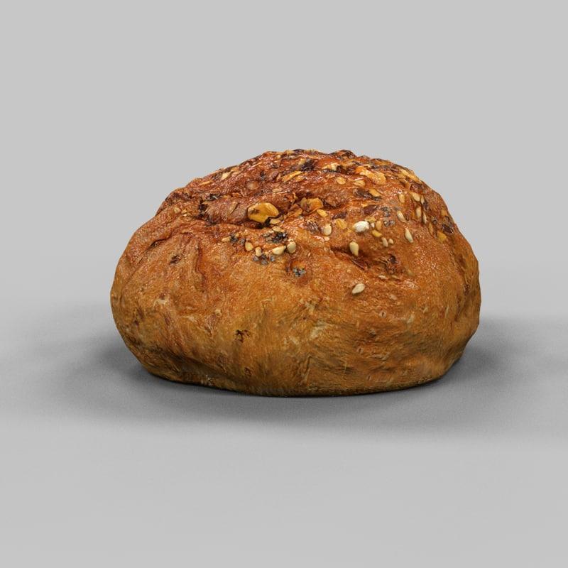 bread roll pistolet 3d obj