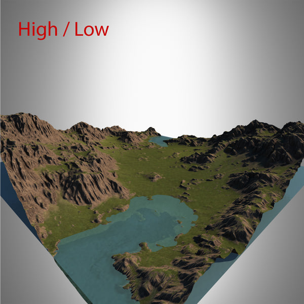 3d model valley landscape
