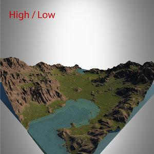 3d model valley landscape