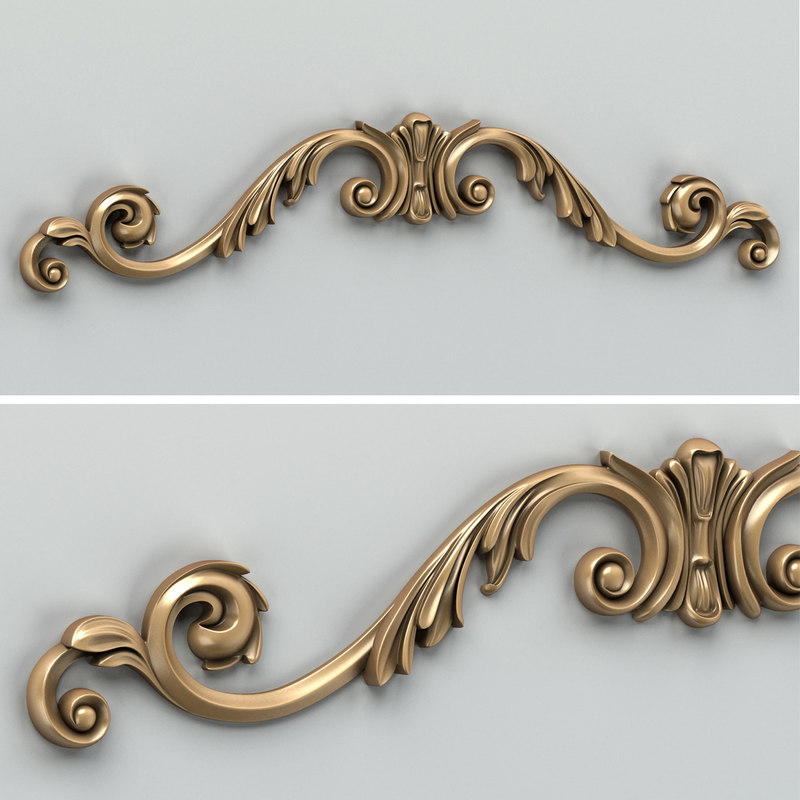3d model of carved horizontal decor