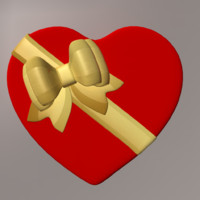 gift box heart obj