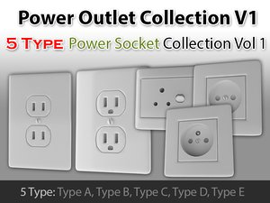 3d model power outlet v1 c