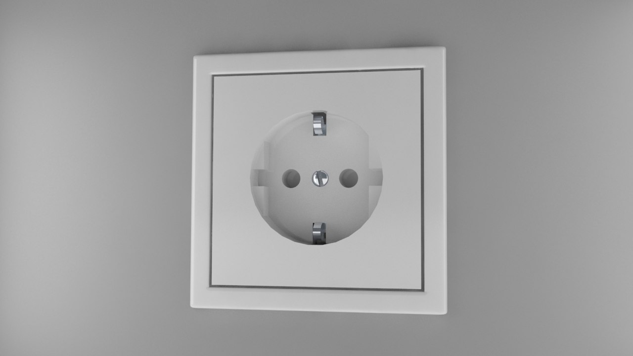 power socket type f 3d max