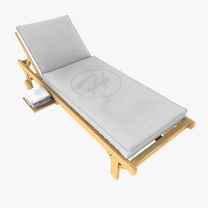 3d model long lawn chair towels